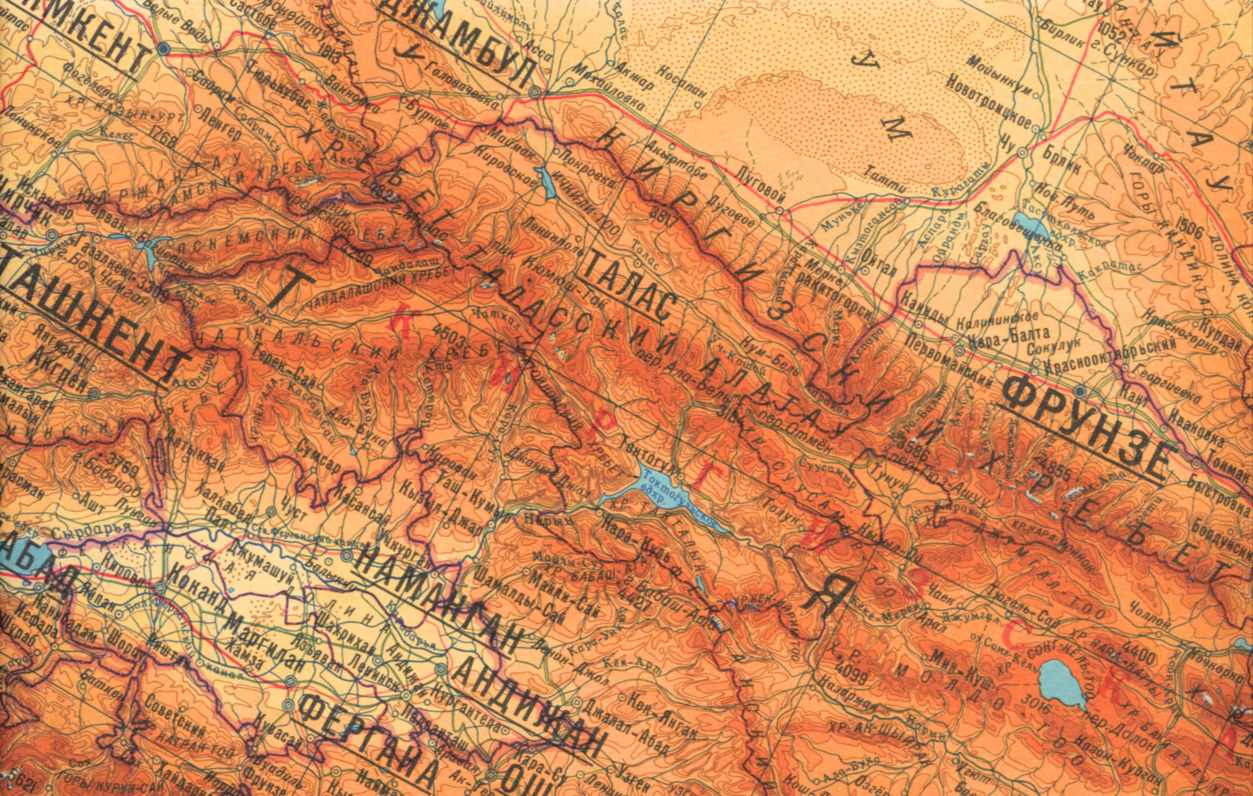 Где находится тянь-шань горы на карте